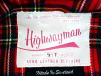 【AERO LEATHER】 エアロレザー HIGHWAYMAN 20TH ANNIVERSARY LIMITED EDITION ハイウェイマン 1stモデル 20周年記念限定版 復刻モデル