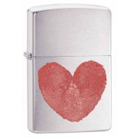 Heart (ハート) Fingerprint Zippo (29068) Brushed Chrome
